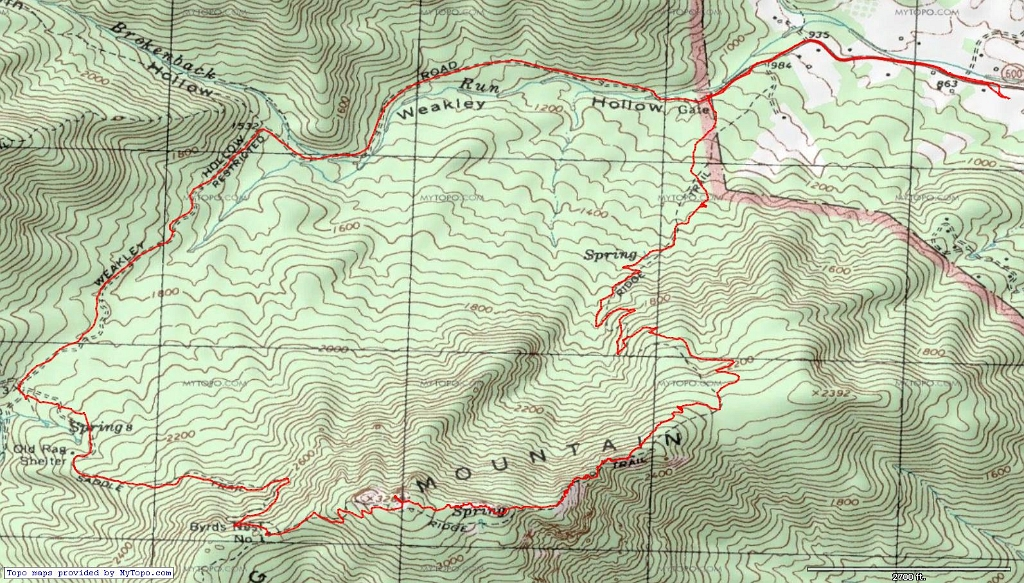 Old Rag VA Hike - Old rag map